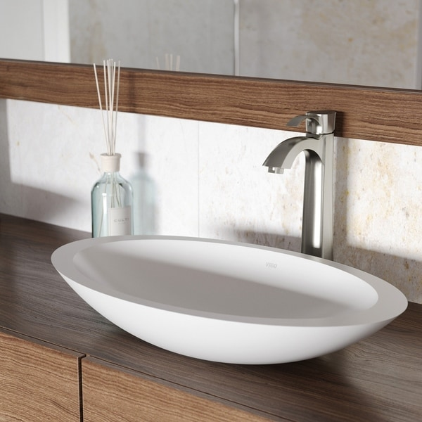 VIGO Wisteria White Matte Stone Vessel Bathroom Sink