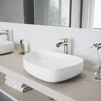 VIGO Peony White Matte Stone Vessel Bathroom Sink