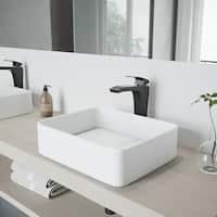VIGO Jasmine White Matte Stone Vessel Bathroom Sink