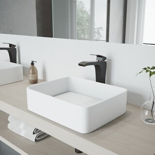 VIGO Jasmine Matte Stone Vessel Bathroom Sink