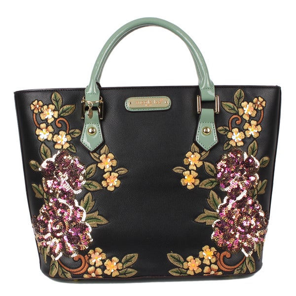Shop Nicole Lee Sequin Floral Black Shoulder Handbag - Free Shipping Today  - Overstock - 16914828 0b95a8d53f780