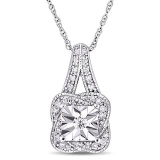 Miadora 10k White Gold 1/7ct TDW Diamond Twisted Square Halo Dangle Necklace