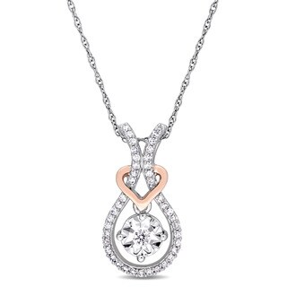 Miadora 2-Tone 10k White & Rose Gold 1/5ct TDW Diamond Interlaced Teardrop Heart Drop Necklace