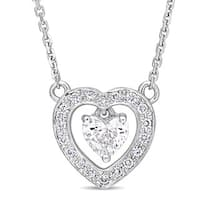 Miadora Signature Collection 14k White Gold 3/8ct TDW Diamond Stationed Double Heart Dangle Necklace