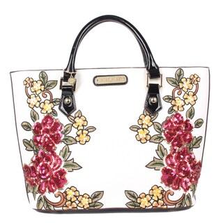 Nicole Lee Sequin Floral White Shoulder Handbag