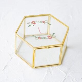 Personalized Floral Gold Glass Keepsake Box