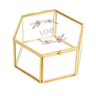Love Floral Gold Glass Keepsake Box