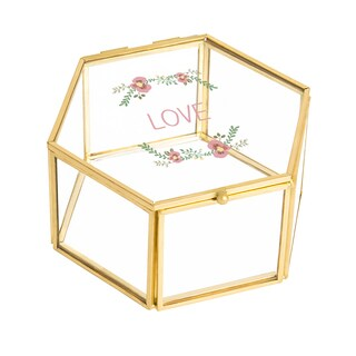 Love Floral Gold Glass Keepsake Box