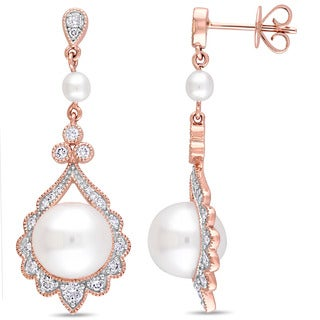 Miadora Signature Collection 14k Rose Gold Cultured Freshwater Pearl 1/2ct TDW Diamond Vintage Drop Earrings (9-9.5 mm) - White