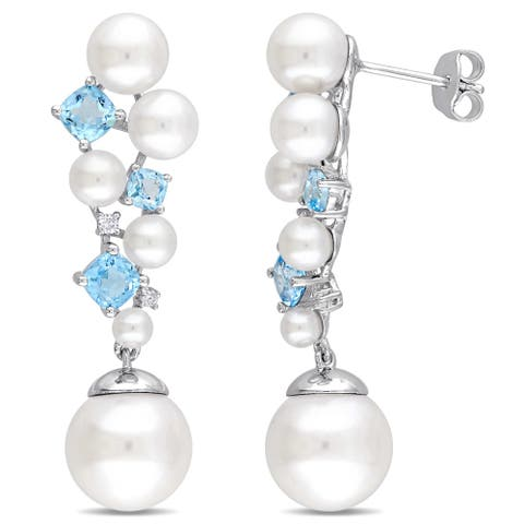 Miadora Sterling Silver Cultured Freshwater Pearl Swiss-Blue Topaz and Diamond Cluster Drop Earrings (11-12 mm) - White