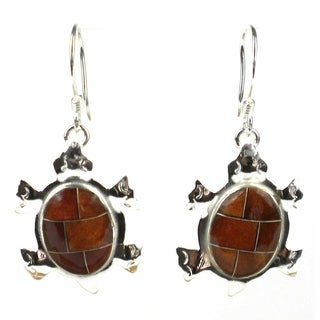 Handcrafted Turtle Earrings with Tiger Eye Design (Mexico)