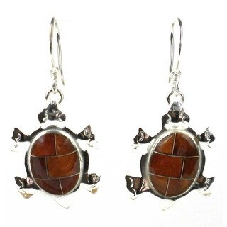 Handmade Turtle Earrings with Tiger Eye Design (Mexico)