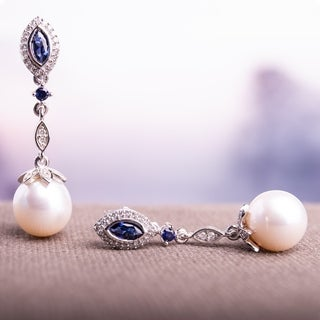 Miadora Signature Collection 10k White Gold Freshwater Pearl Created Sapphire and 1/5ct TDW Diamond Earrings (8.5-9 mm)