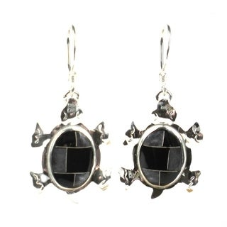 Handcrafted Turtle Earrings with Onyx Design (Mexico)