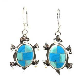 Handmade Turtle Earrings with Turquoise Design (Mexico)
