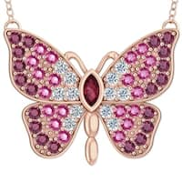 Rose Gold Plated Butterfly Necklace set with Rhodolite Cubic Zirconia - Pink