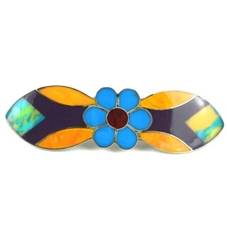 Handcrafted Alpaca Silver and Resin Flower Barrette (Mexico)