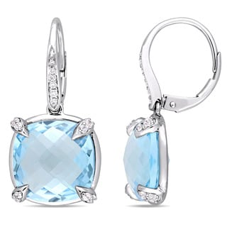 Miadora Signature Collection 14k White Gold Sky-Blue Topaz White Sapphire and Diamond  Accent Leverback Earrings