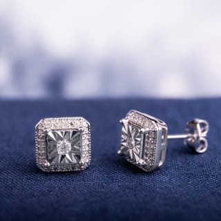 Miadora Sterling Silver 1/5ct TDW Diamond Square Halo Solitaire Illusion Stud Earrings|https://ak1.ostkcdn.com/images/products/16914945/P23206896.jpg?impolicy=medium