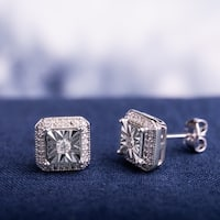 Miadora Sterling Silver 1/5ct TDW Diamond Square Halo Solitaire Illusion Stud Earrings