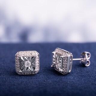 Miadora Sterling Silver 1/5ct TDW Diamond Square Halo Solitaire Illusion Stud Earrings