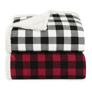 Eddie Bauer Cabin Plaid Black and White Fleece Throw