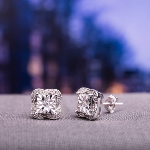 Miadora 10k White Gold 1/6ct TDW Diamond Twisted Square Halo Stud Earrings