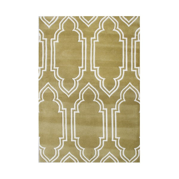 Alliyah Rugs Handmade Mustard Gold New Zealand Blended Wool Rug - 8' x 10'