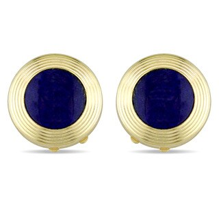 Miadora Signature Collection 18k Yellow Gold Lapis Textured Button Covers
