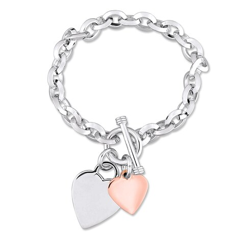 Miadora 2-Tone White and Rose Plated Sterling Silver Double Heart Charm Bracelet