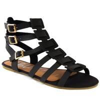Blue Womens Balreg-H Strappy Flat Gladiator Buckled Sandals