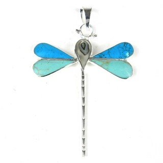 Handmade Turquoise Dragonfly Pendant (Mexico)