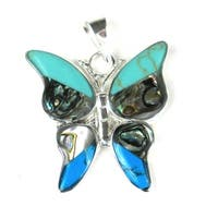Handmade Turquoise Butterfly Pendant (Mexico)