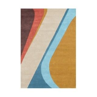 Alliyah Rugs Wave New Zealand Blend Wool Area Rug (5' x 8')