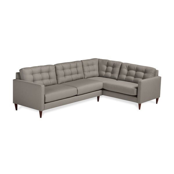 Harvard Mid Century Eco Friendly Fabric Right Facing Tufted Sectional Sofa