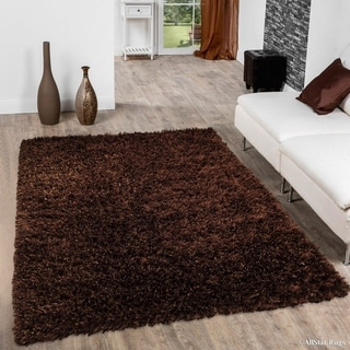 "Allstar Chocolate Solid Thick Modern Shaggy Rug (4' 11"" X 6' 11"")"
