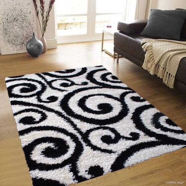 Shop Modern High Pile Posh Shaggy Scroll Pattern Area Rug
