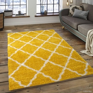 Yellow/ White Modern High Pile Posh Shaggy Trellis Patterned Area Rug (5' X 7')