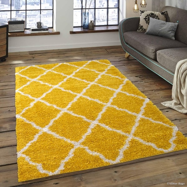 Yellow White Modern High Pile Posh Gy Trellis Patterned Area Rug