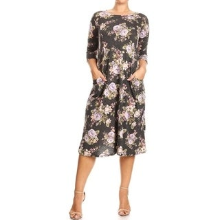 Women's Plus Size Floral Pattern Dress with Pockets