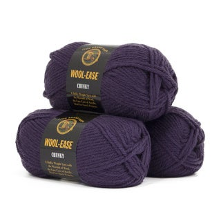 Lion Brand Yarn Wool Ease Chunky Eggplant 630-144 3 Pack Classic Yarn