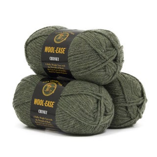 Lion Brand Yarn Wool Ease Chunky Willow 630-173 3 Pack Classic Yarn
