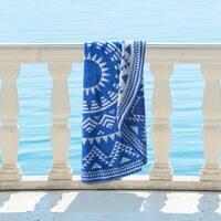 Superior 100% Premium Cotton Medallion Starburst 60-inch Round Beach Towel