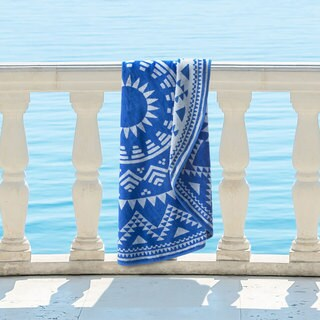 Superior 100% Premium Cotton Medallion Starburst 60-inch Round Beach Towel