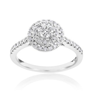 SummerRose 14k White Gold 5/8ct TDW Diamond Halo Engagement Ring