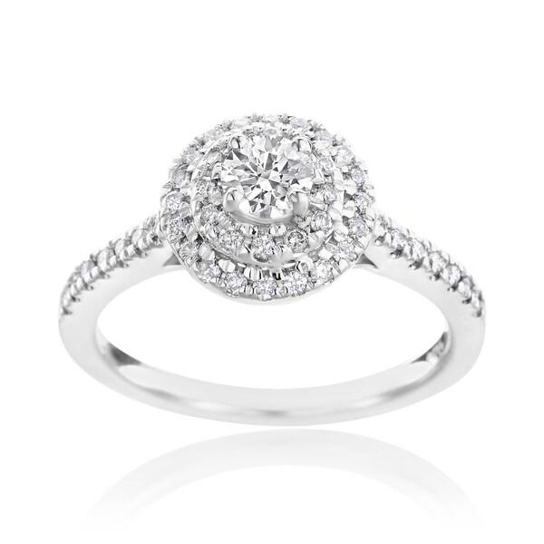 SummerRose 14k White Gold 5/8ct TDW Diamond Halo Engagement Ring