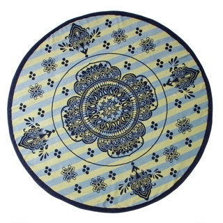 Superior 100% Premium Cotton Medallion Rangoli 60-inch Round Beach Towel