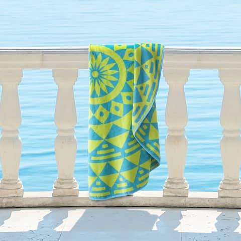 Superior 100% Premium Cotton Medallion Molinillo 60-inch Round Beach Towel