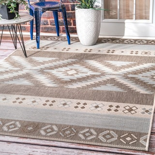 nuLOOM Contemporary Southwestern Indoor/Outdoor Grey Rug  (5' 3 x 7' 6)