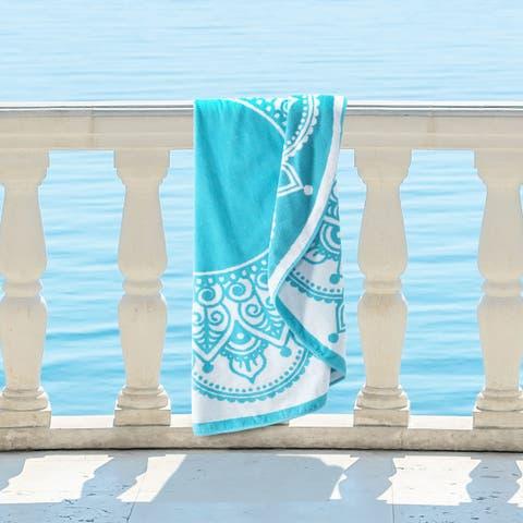 Superior 100% Premium Cotton Medallion Lotus 60-inch Round Beach Towel